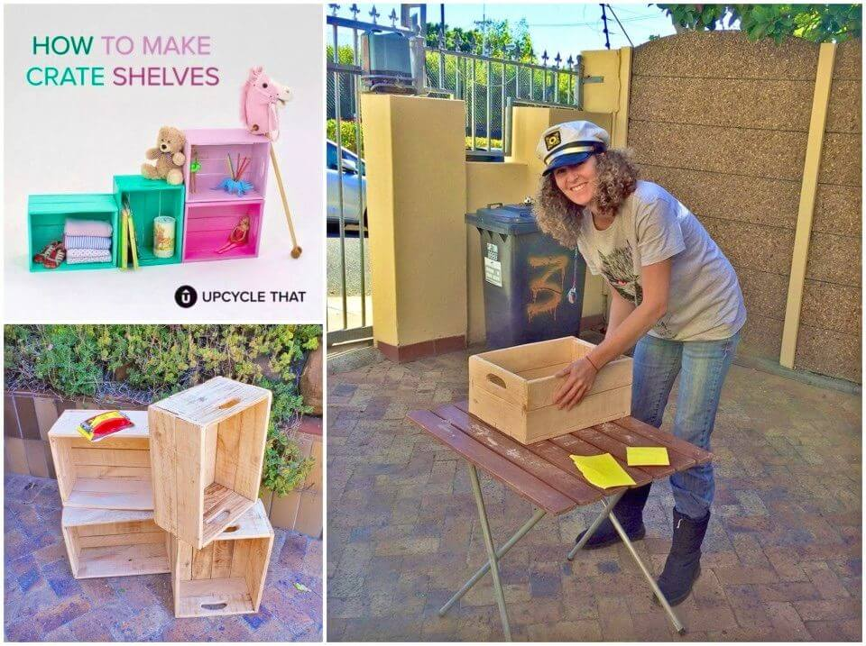 Colorful DIY Crate Shelves for Toy Storage