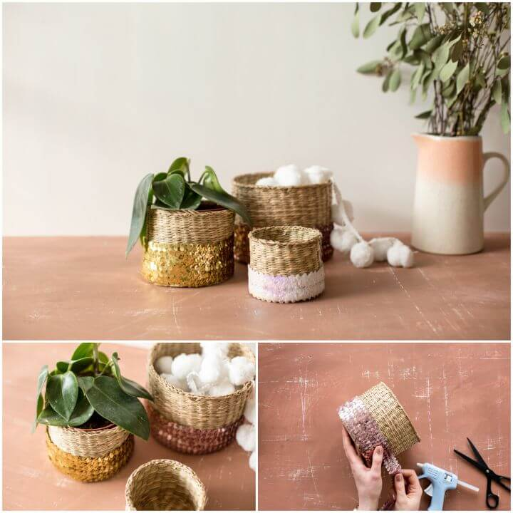 Create Sequin Wrapped Baskets