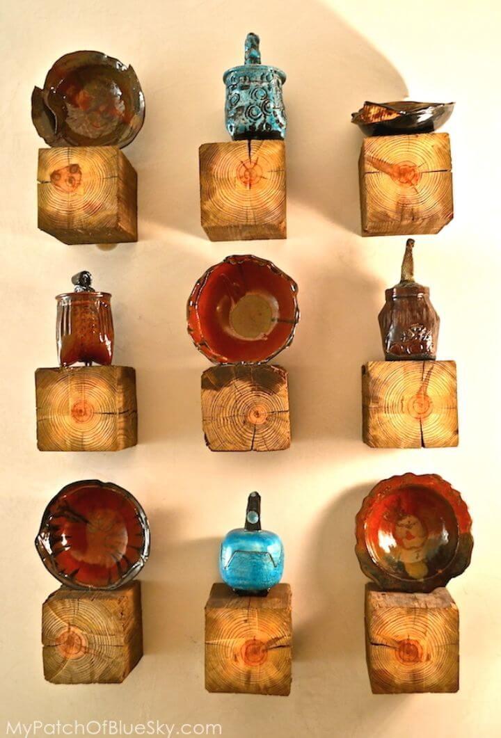 Cute DIY Rustic Elegant Pottery Display Shelves