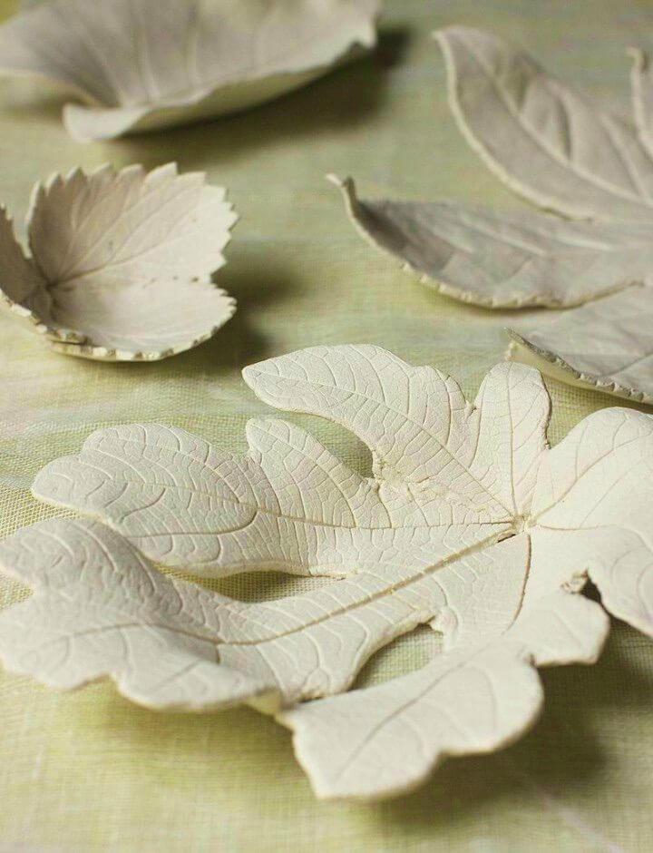 Cute DIY Air Dry Clay Leaf Bowls