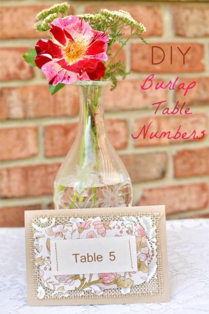 Cute DIY Burlap Table Numbers