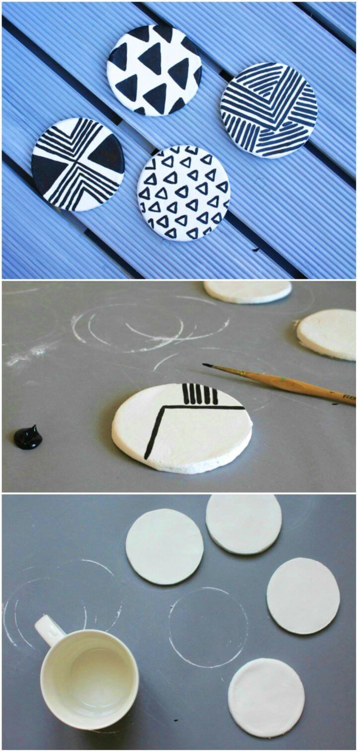 Cute DIY Geometric Clay Coasters