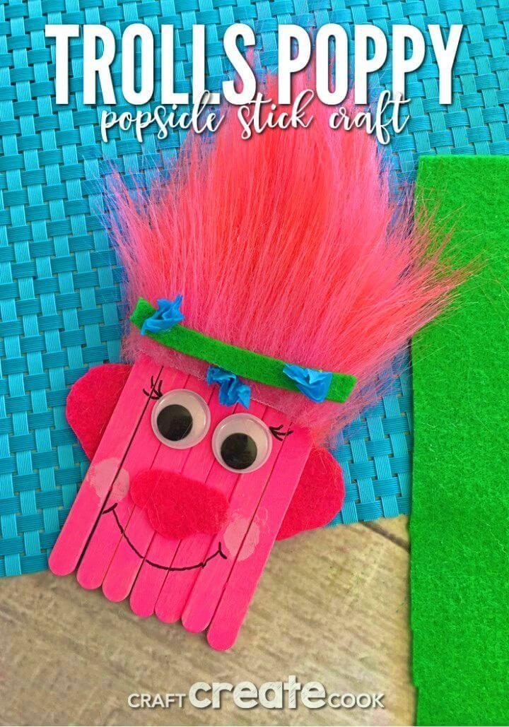 Cute DIY Trolls Poppy Popsicle Stick Craft for Kids