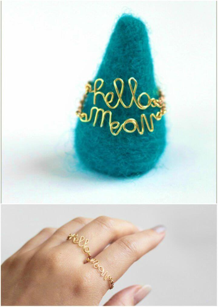 Cute DIY Wire Word Rings