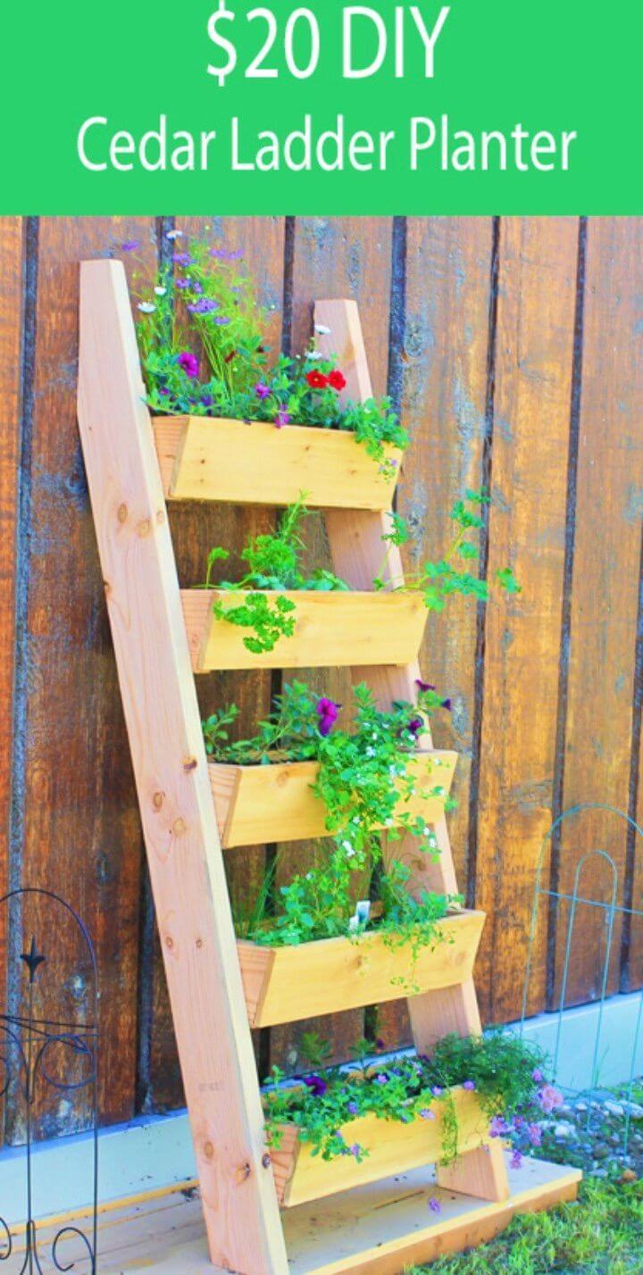 DIY Cedar Vertical Tiered Ladder Garden Planter