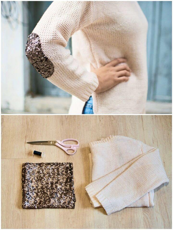DIY Minutes Sequin Elbow Patch Sweater