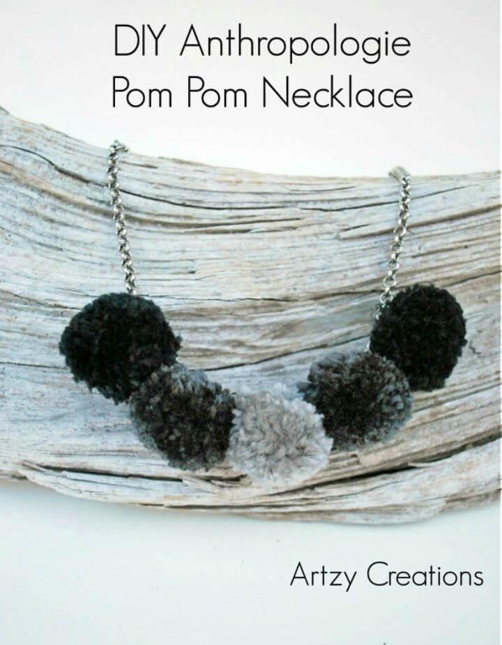 DIY Anthropologie Pom Pom Necklace