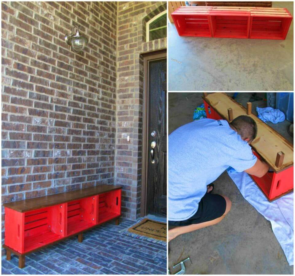 DIY Bench and Storage From Crates