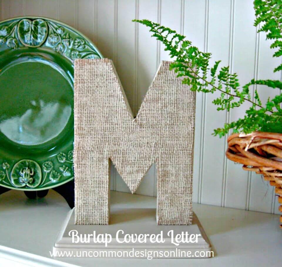 DIY Burlap Covered Letters