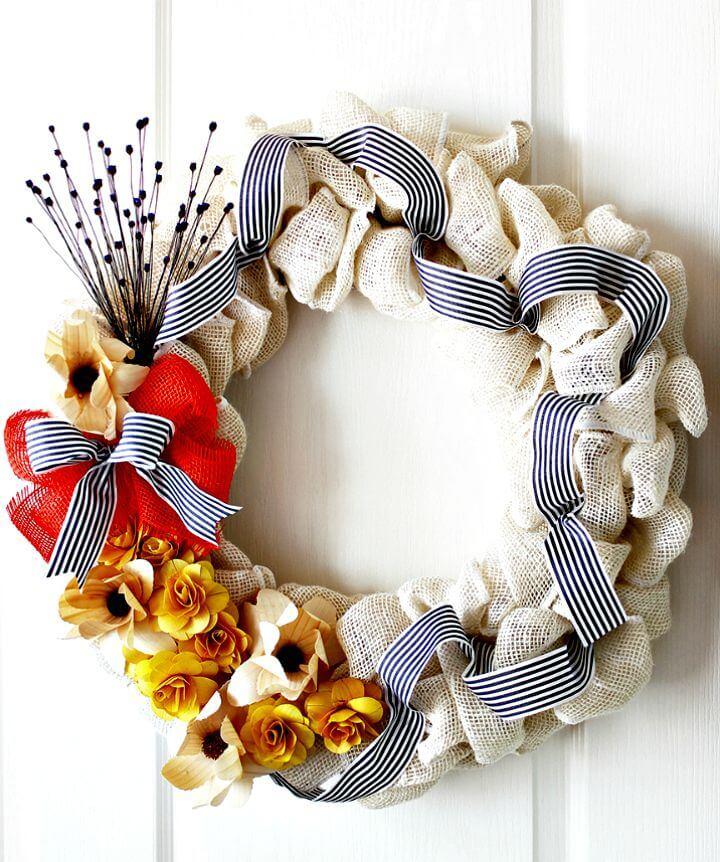 DIY Burlap Flower Wreath