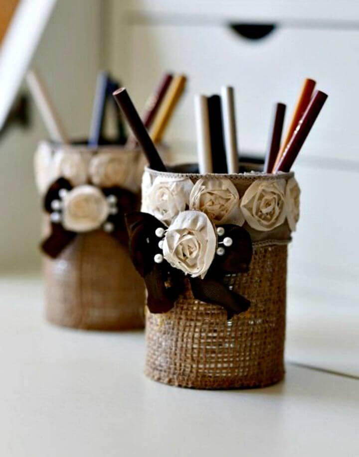 DIY Burlap Pencil Holder