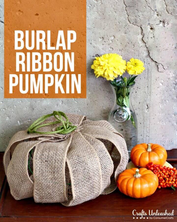DIY Burlap Ribbon Pumpkin Decor