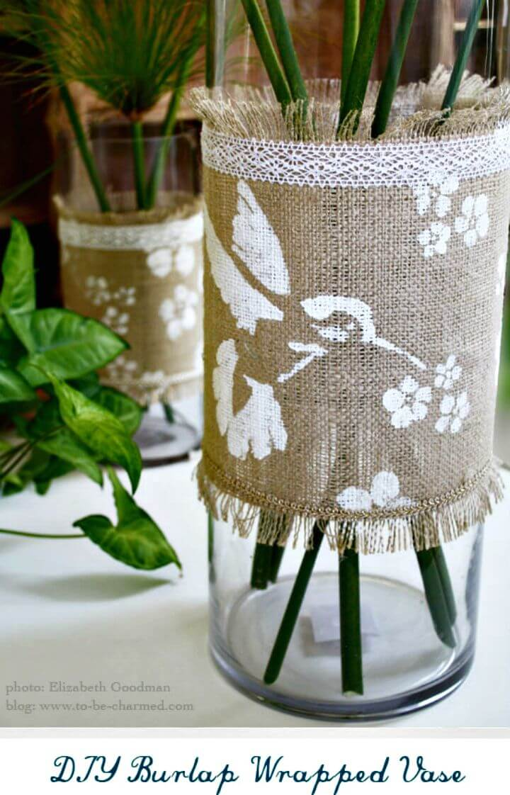 DIY Burlap Wrapped Vase Embellished with Stencils and Lace