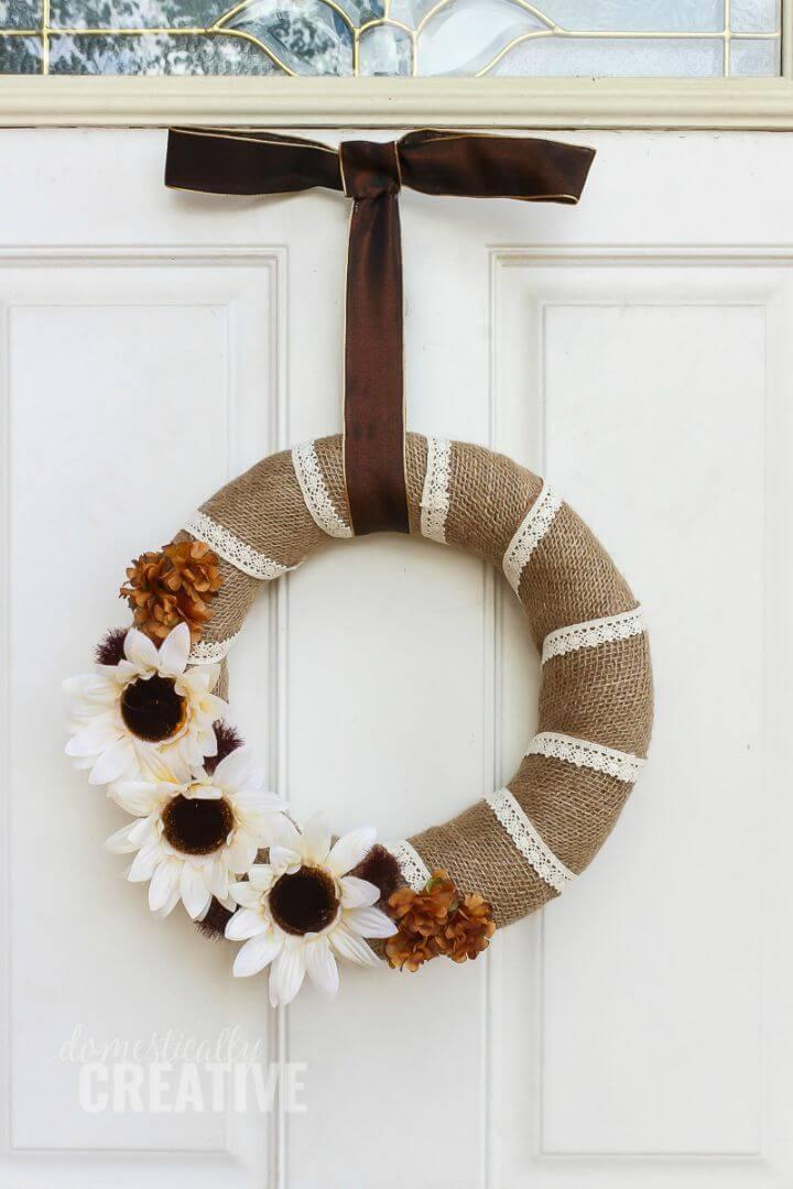 DIY Burlap and Lace Fall Wreath