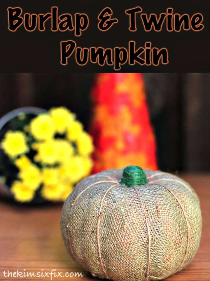 DIY Burlap and Twine Wrapped Dollar Store Pumpkin