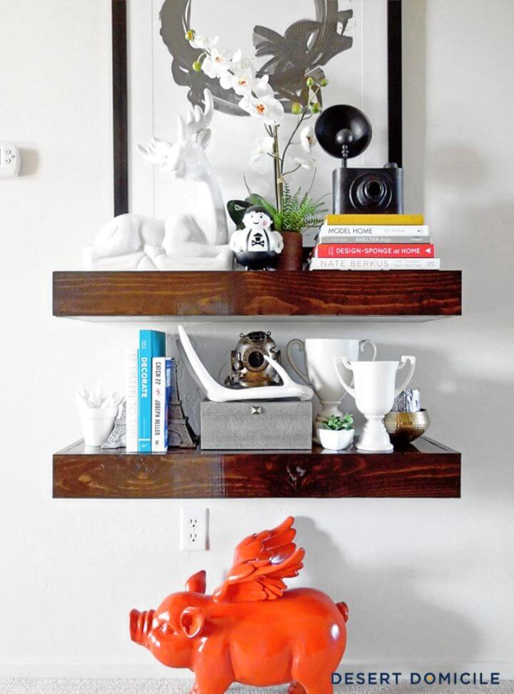 DIY Chunky Wooden Floating Shelves