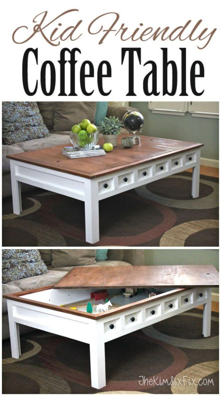 DIY Coffee Table with Hidden LEGO and Train Play Areas