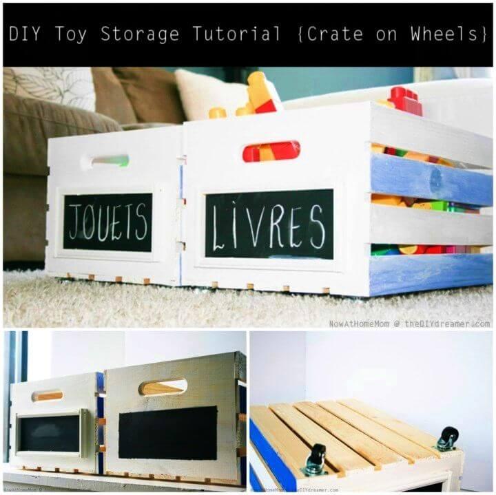 DIY Crate On Wheels Toy Storage