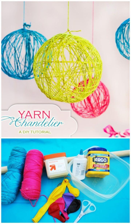 DIY Creative Yarn Chandelier
