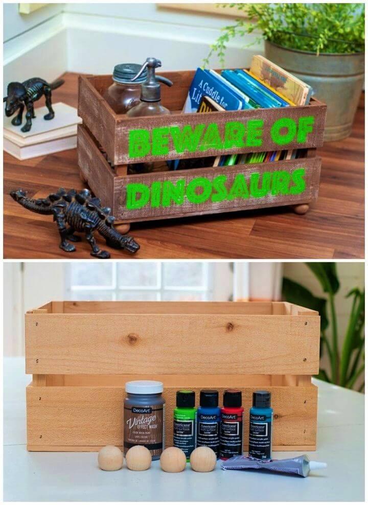 DIY Dinosaur Room Crate Makeover