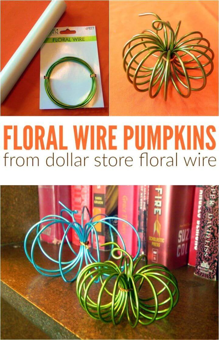 DIY Dollar Store Floral Wire Pumpkins
