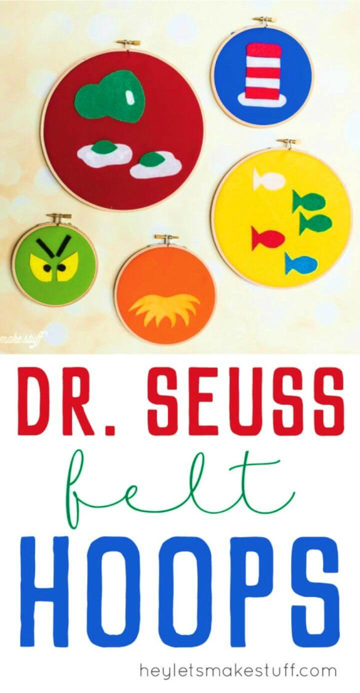 DIY Dr Seuss Decorative Felt Hoops