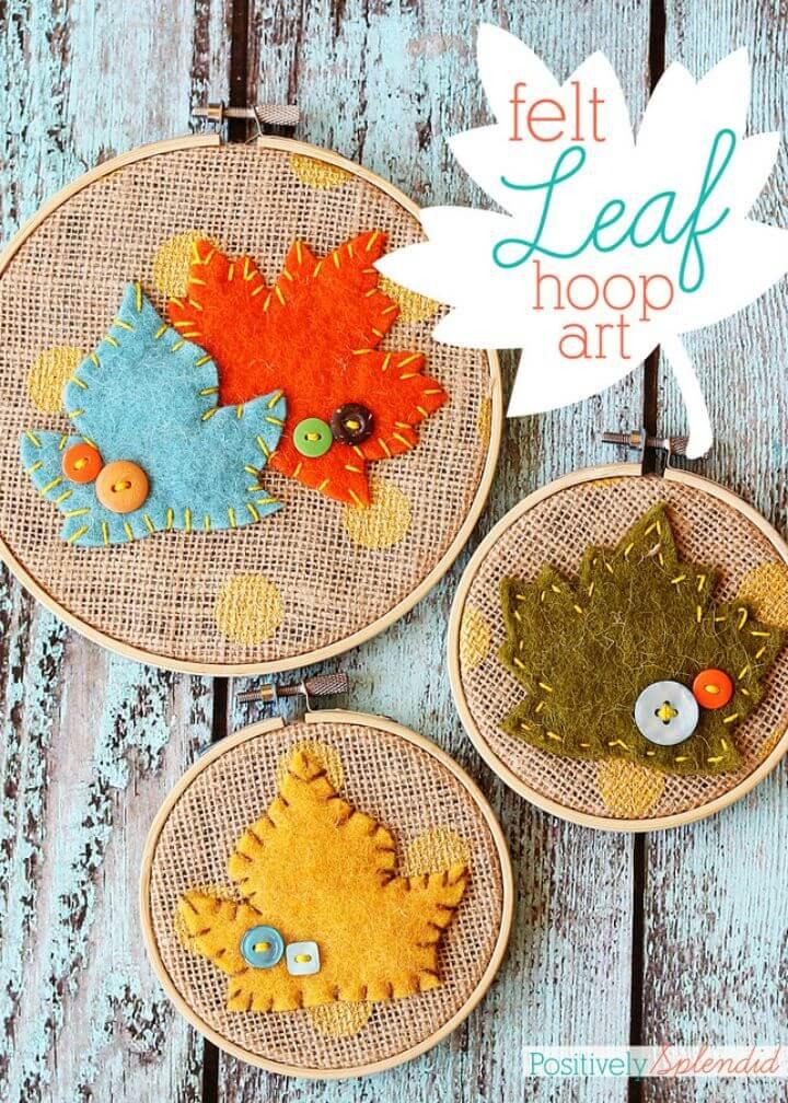 DIY Fall Leaf Embroidery Hoop Art