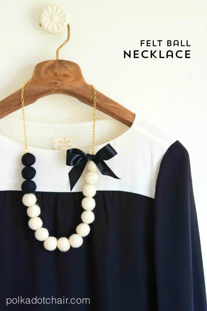 DIY Felt Ball Necklace Tutorial