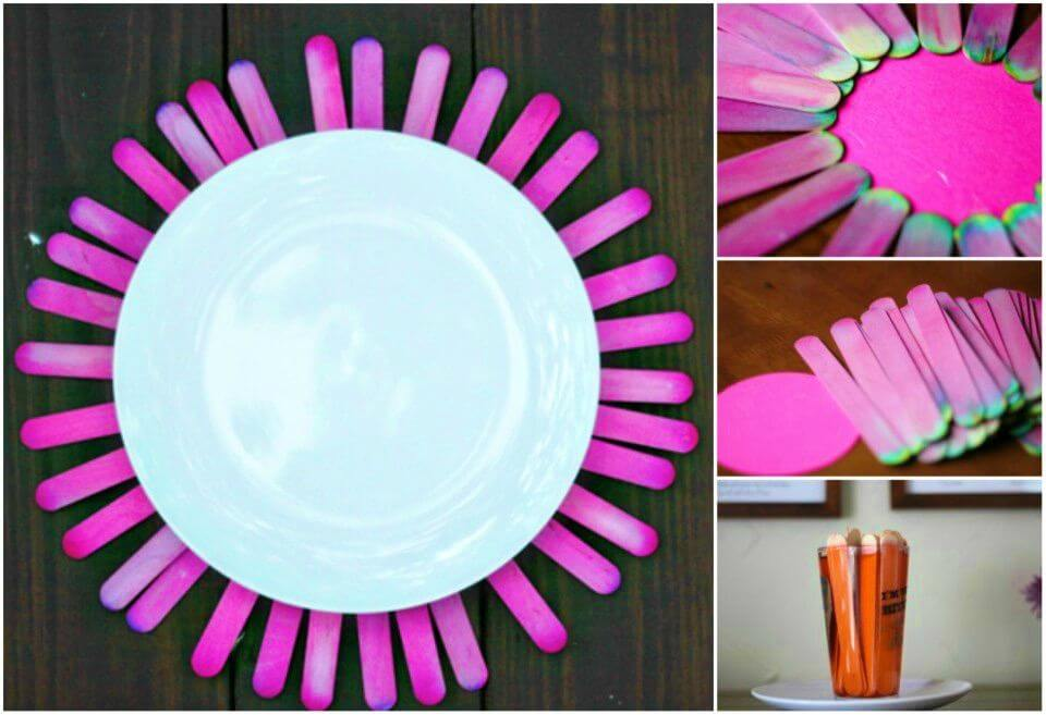 DIY Festive Plate Charger Made With Popsicle Sticks