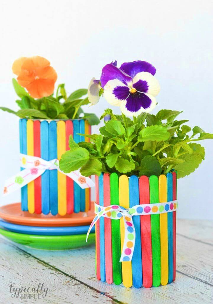 DIY Flower Pots Using Popsicle Sticks
