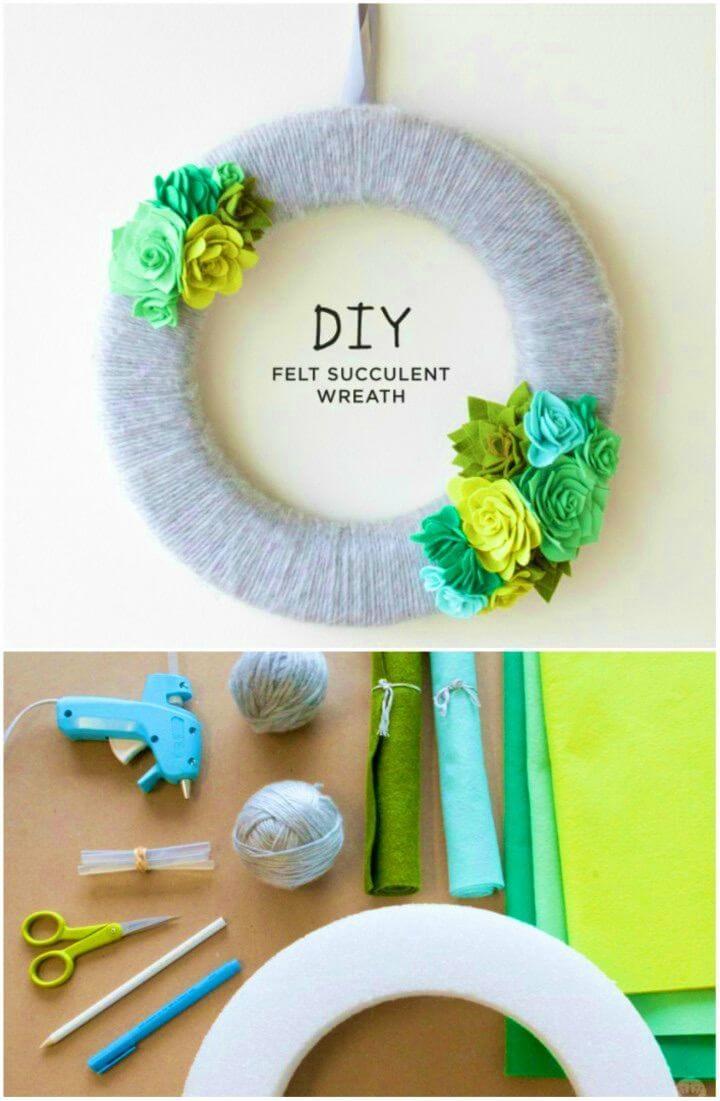 DIY Fresh Felt Succulent Wreath Tutorial