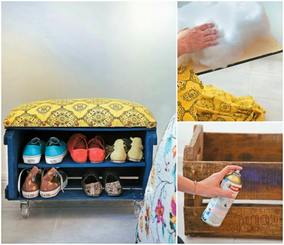 DIY Fruit Crate Shoe Bench