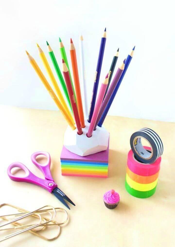 DIY Geometric Colored Pencil Holder
