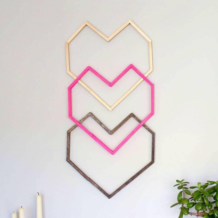 DIY Geometric Heart Wall Art