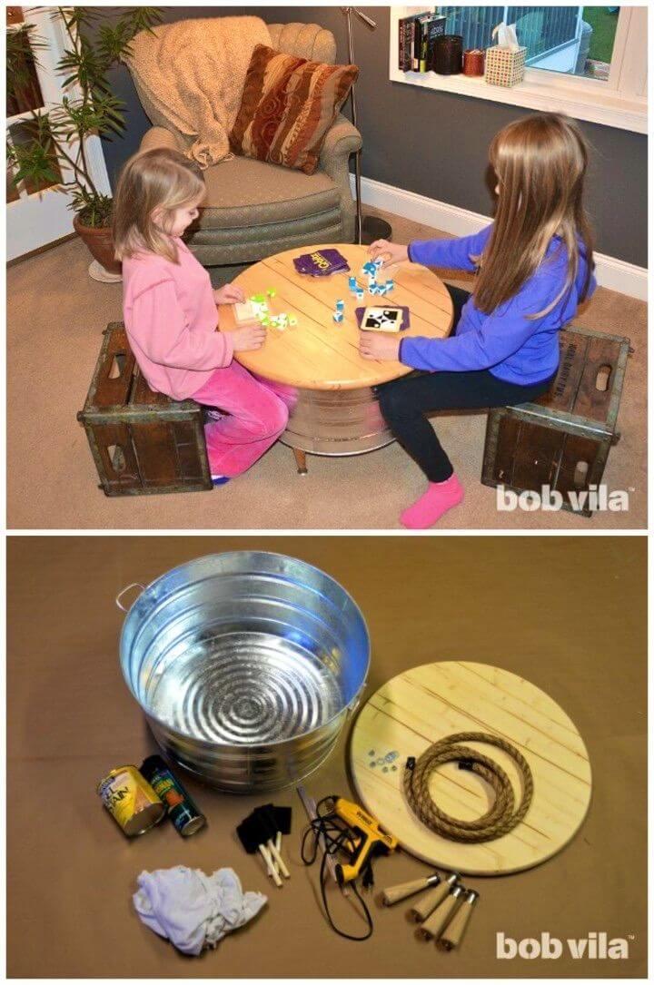 DIY Handmade Table with Hidden Toy Storage