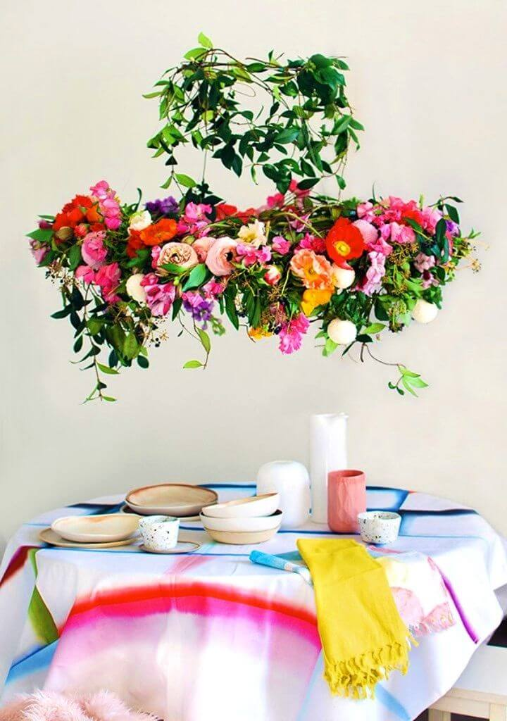DIY Hanging Flower Chandelier For Your Next Party