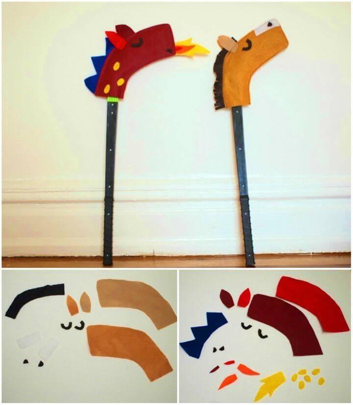 DIY Hockey Stick Hobby Horse and Dragon