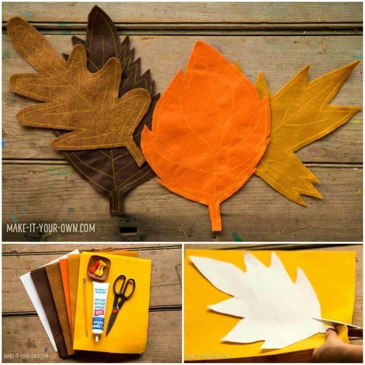 DIY Kid made Felt Leaf Table Runner