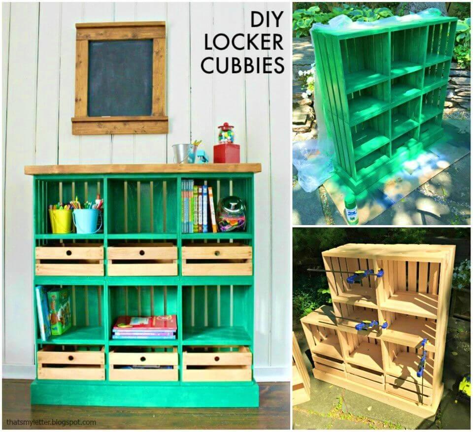 DIY Locker Cubbies From Wooden Crates