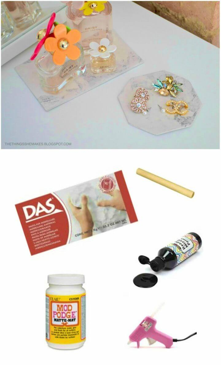 DIY Marble Air Dry Clay Display Trays