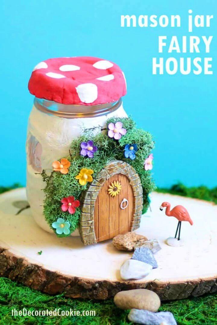 DIY Mason Jar Fairy House Using Air Dry Clay
