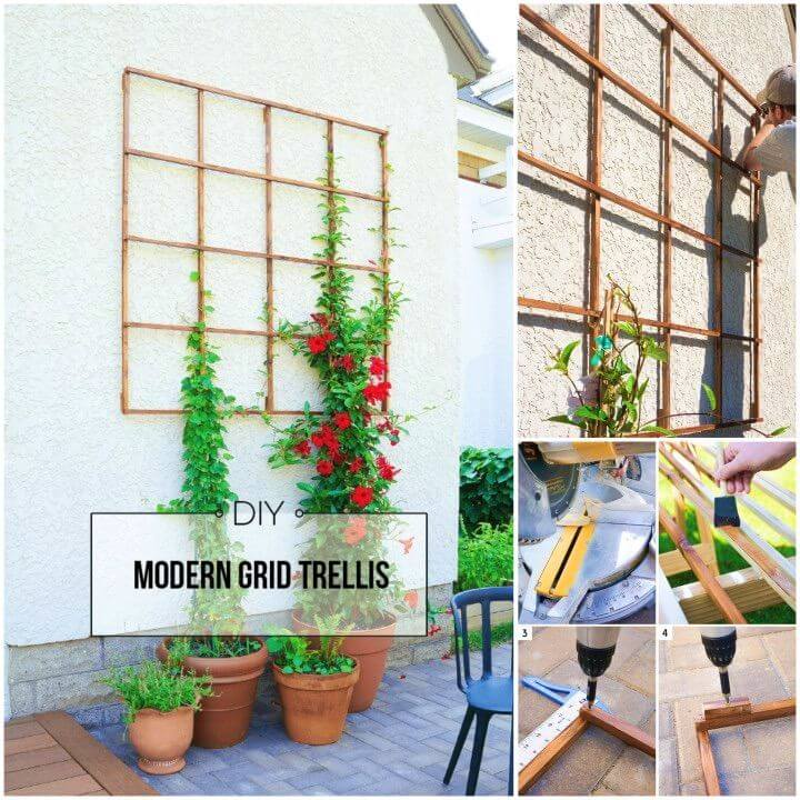 DIY Modern Grid Trellis from Garden Stakes