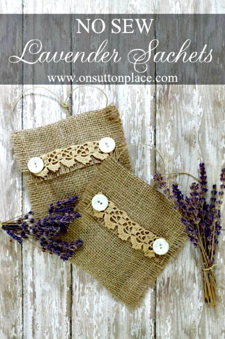DIY No Sew Burlap Lavender Sachets