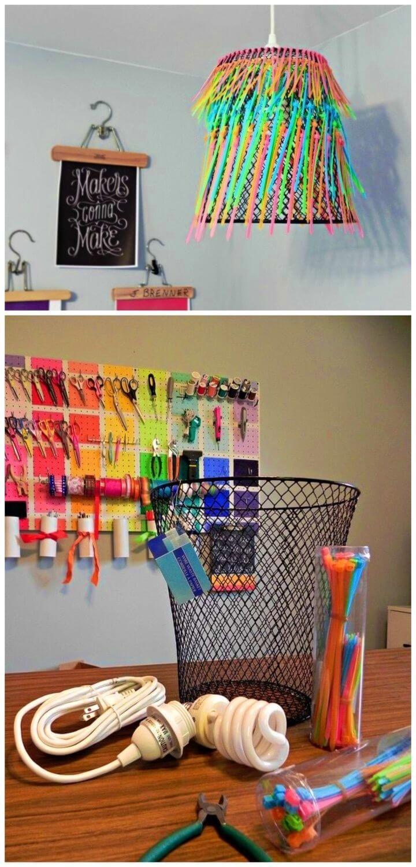 DIY Ombre Neon Zip tie Pendant Lamp