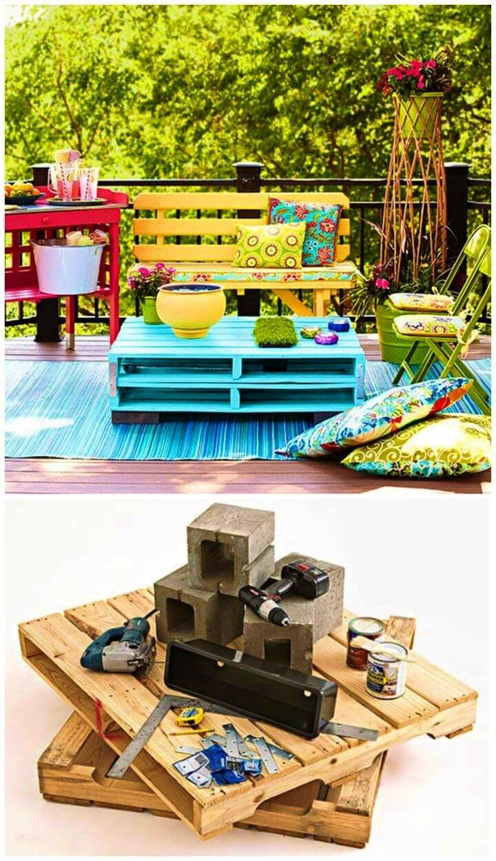 DIY Outdoor Coffee Table From Pallets