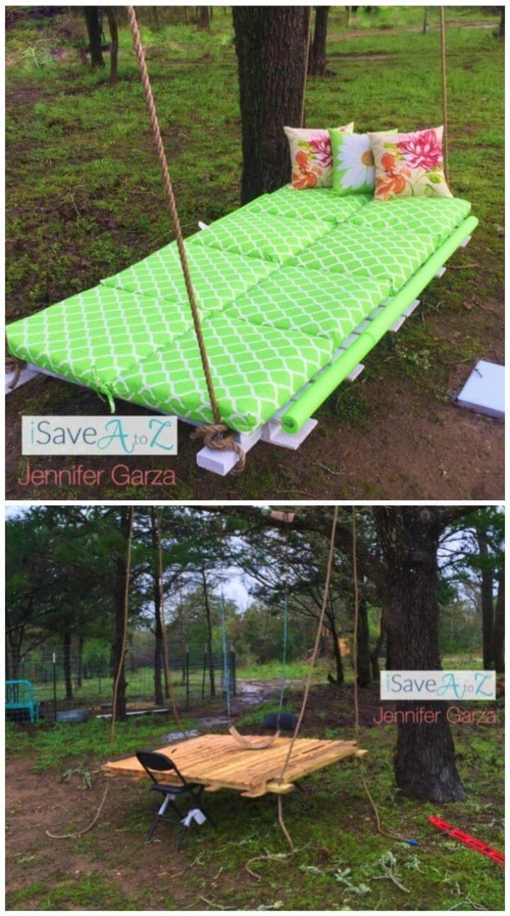 DIY Outdoor Pallet Board Bed Swing