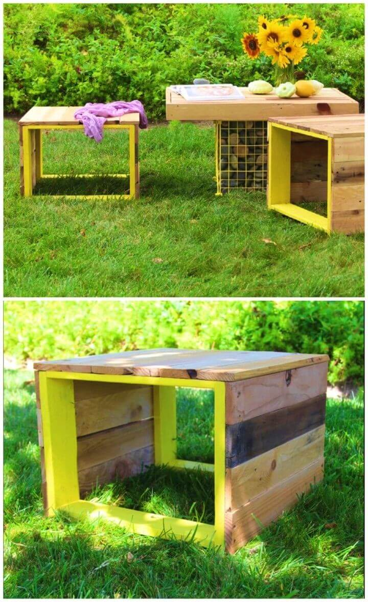 DIY Outdoor Pallet Coffee Table And Bench