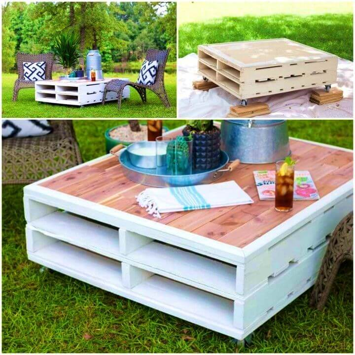 DIY Outdoor Pallet Coffee Table Makeover