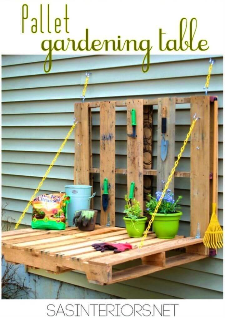 DIY Outdoor Pallet Gardening Table