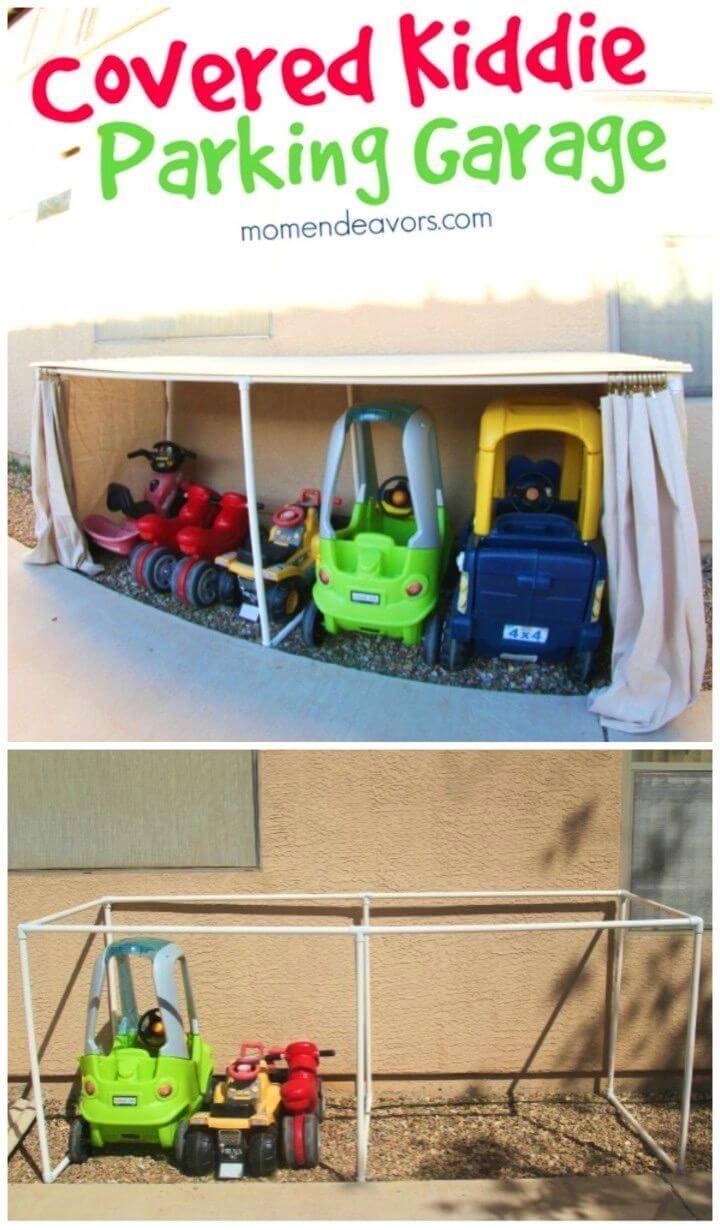 DIY Outdoor Toy Organization For Kiddie Car Parking